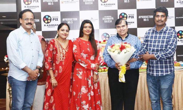 Pooja for the new movie of Aishwarya Rajesh with R Kannan